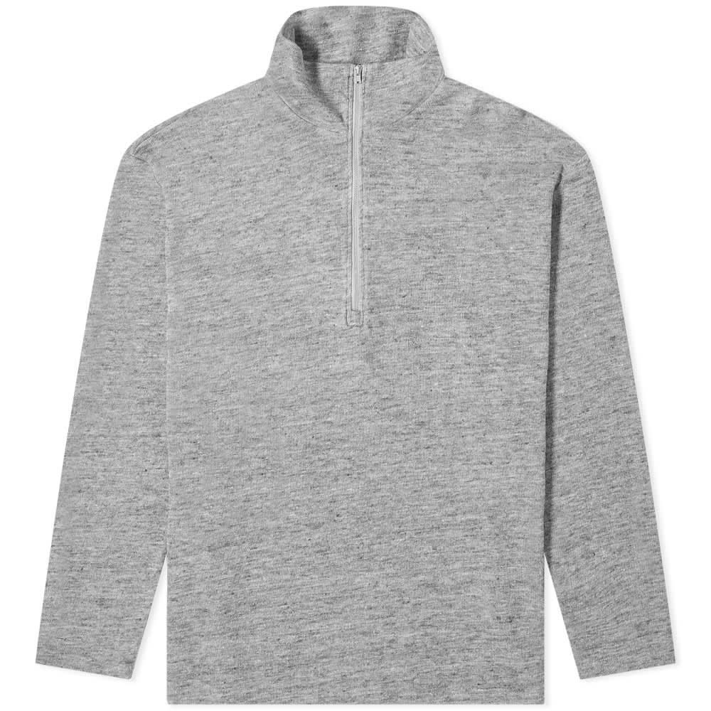 Barena Taparo Linen Mix Quarter Zip Sweat - Grey