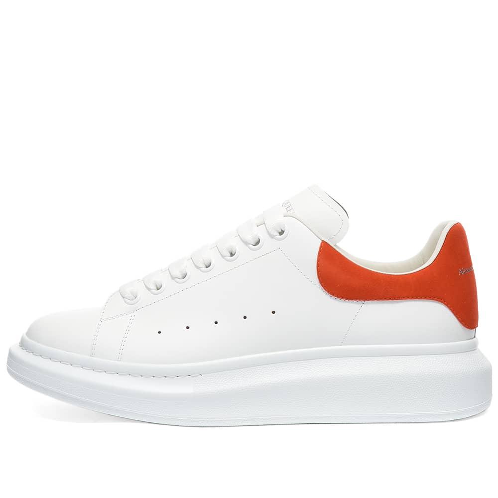 Alexander McQueen Heel Tab Wedge Sole Sneaker - White & Warm Orange