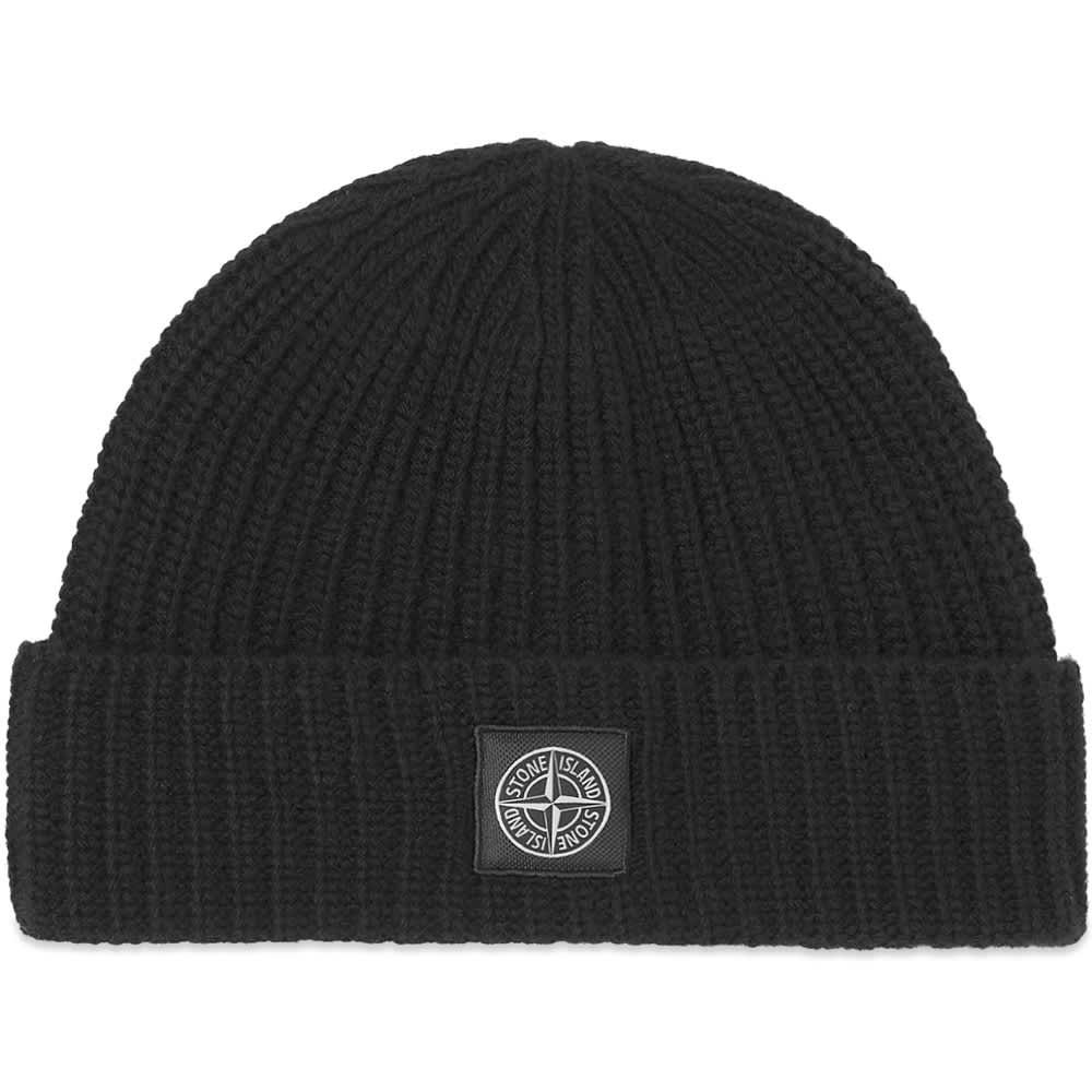 Stone Island Patch Logo Beanie Hat - Black