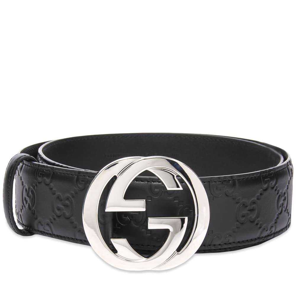 Gucci GG Interlock Embossed Belt - Black