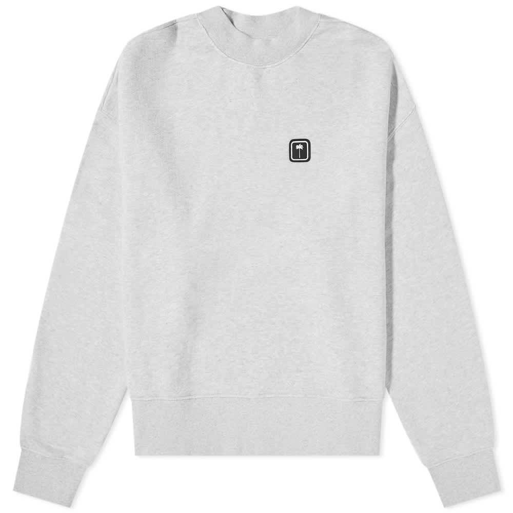Palm Angels Patch Logo Crew Sweat - Grey & White