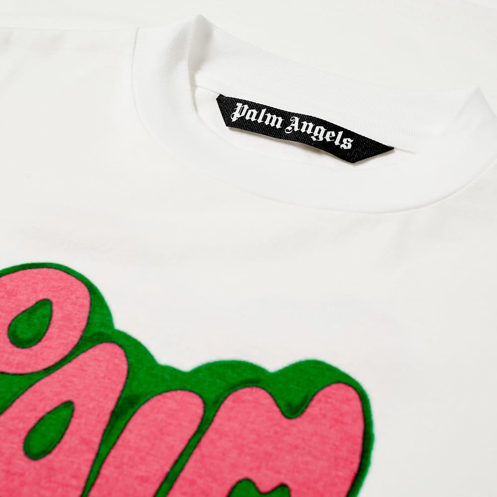 Palm Angels Spray Heart Logo Tee - White & Fuchsia