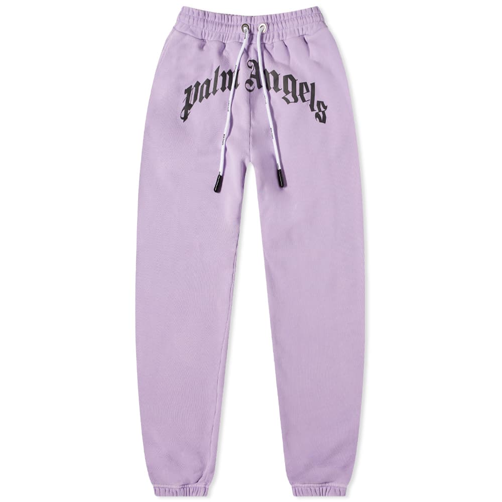 Palm Angels Garment Dyed Curved Logo Sweat Pant - Lilac & White