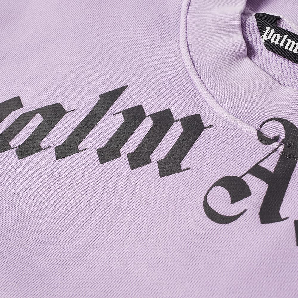 Palm Angels Garment Dyed Curved Logo Crew Sweat - Lilac & Black