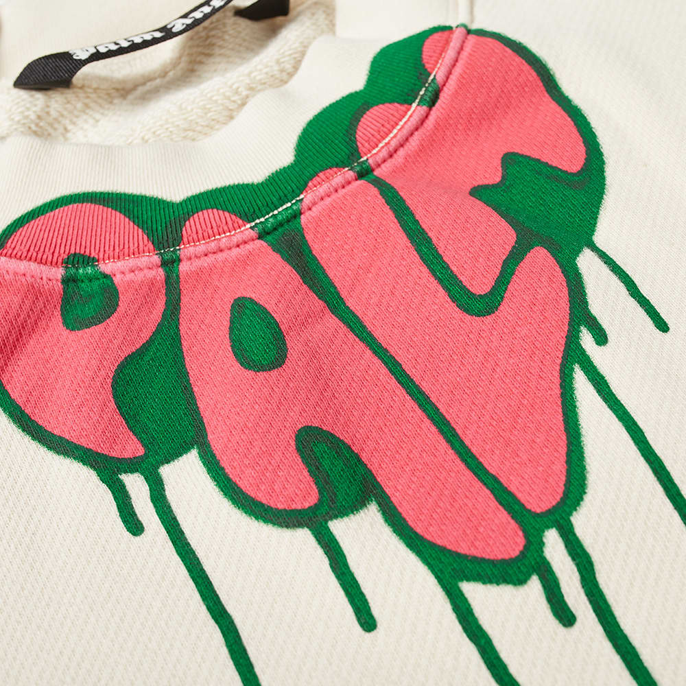 Palm Angels Spray Heart Logo Crew Sweat - White & Fuchsia