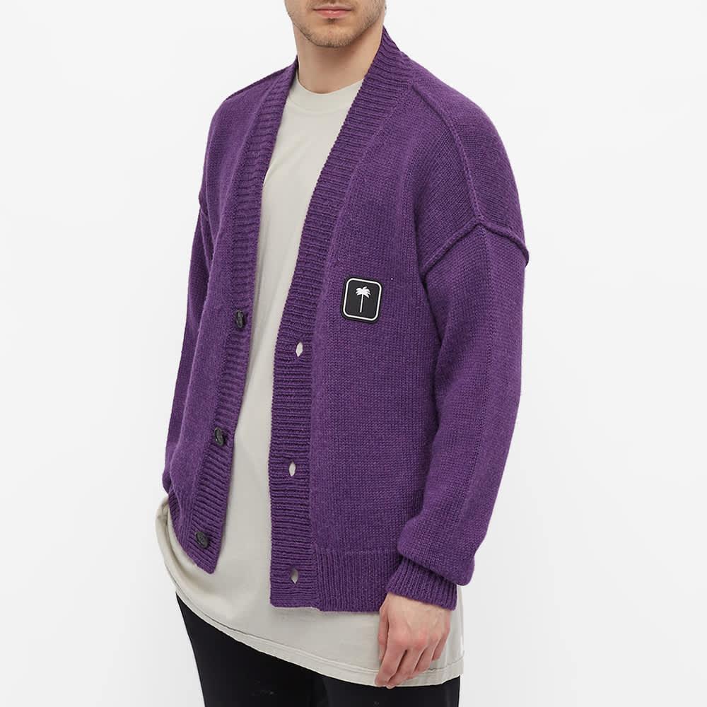 Palm Angels Patch Logo Cardigan - Purple & White