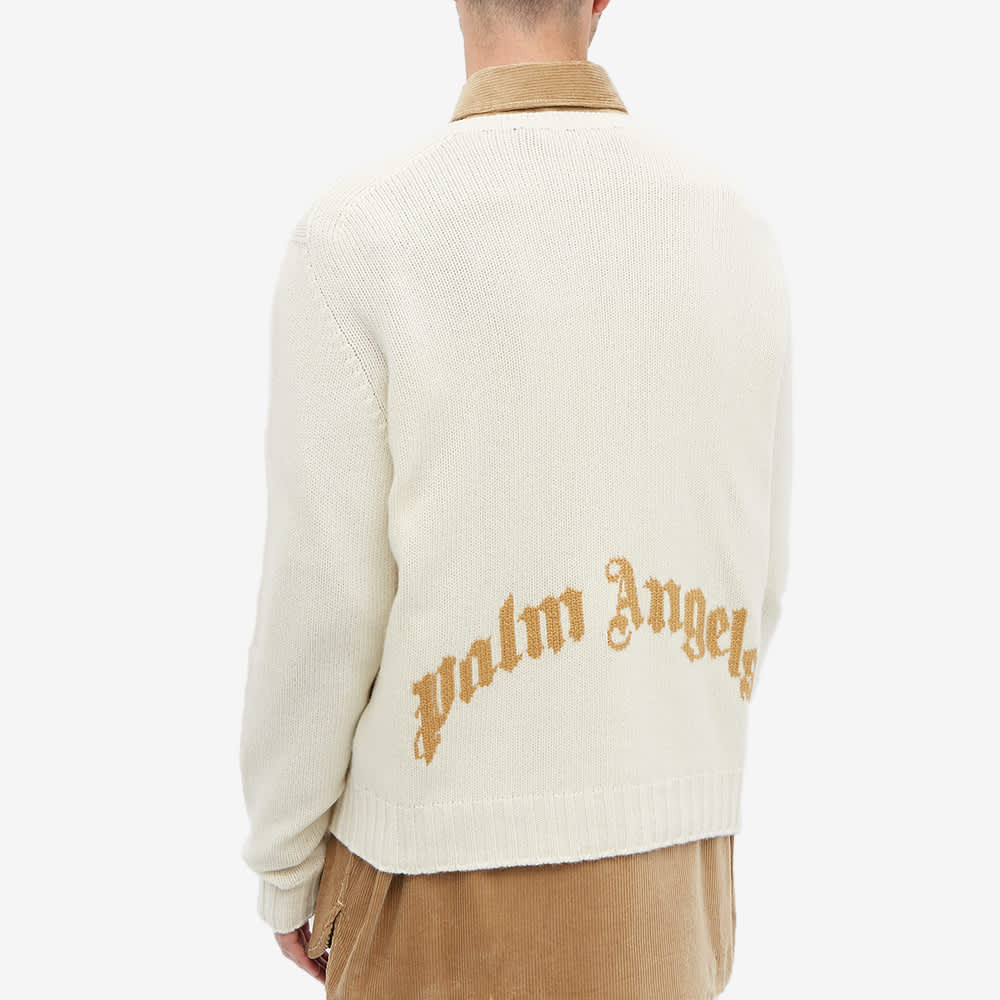 Palm Angels Curved Logo Crew Knit - White & Beige