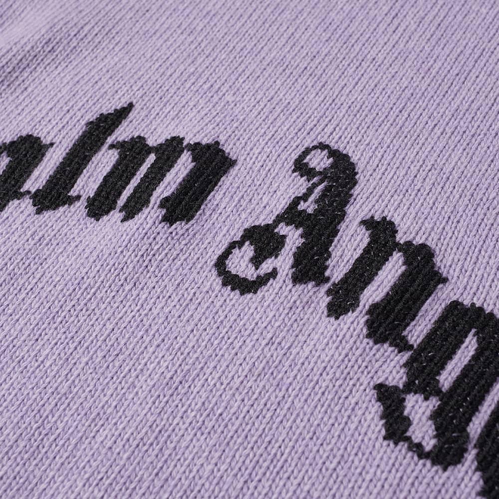 Palm Angels Curved Logo Crew Knit - Lilac & Black