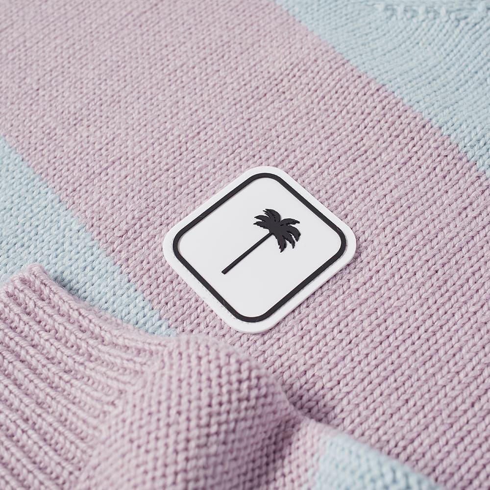 Palm Angels Striped Patch Logo Knit - Blue & Lilac