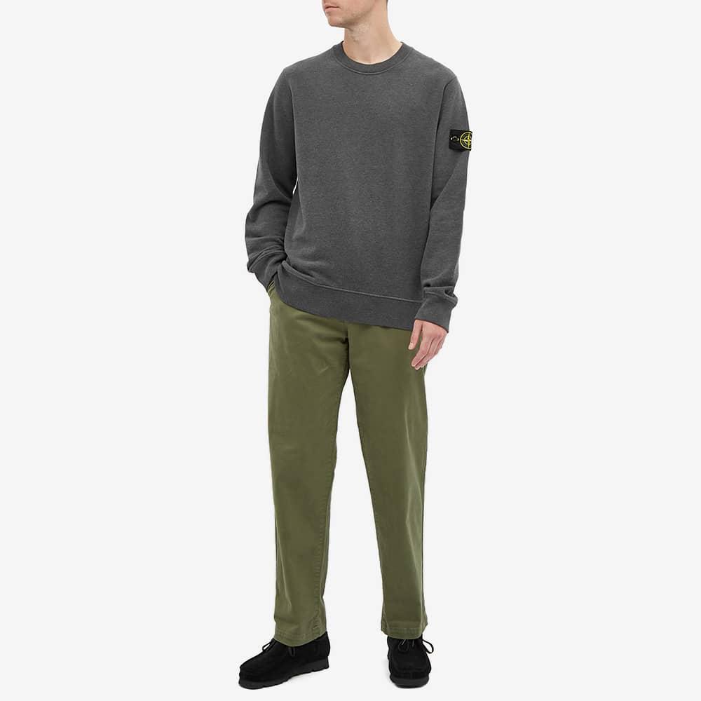 Stone Island Garment Dyed Crew Sweat - Dark Grey Melange