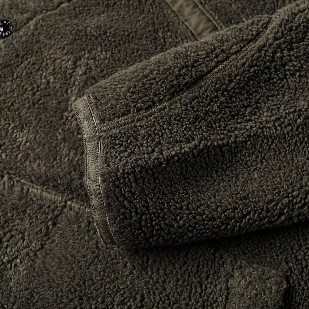 Stone Island Shadow Project Asymmetric Pile Fleece Hooded Jacket - Olive