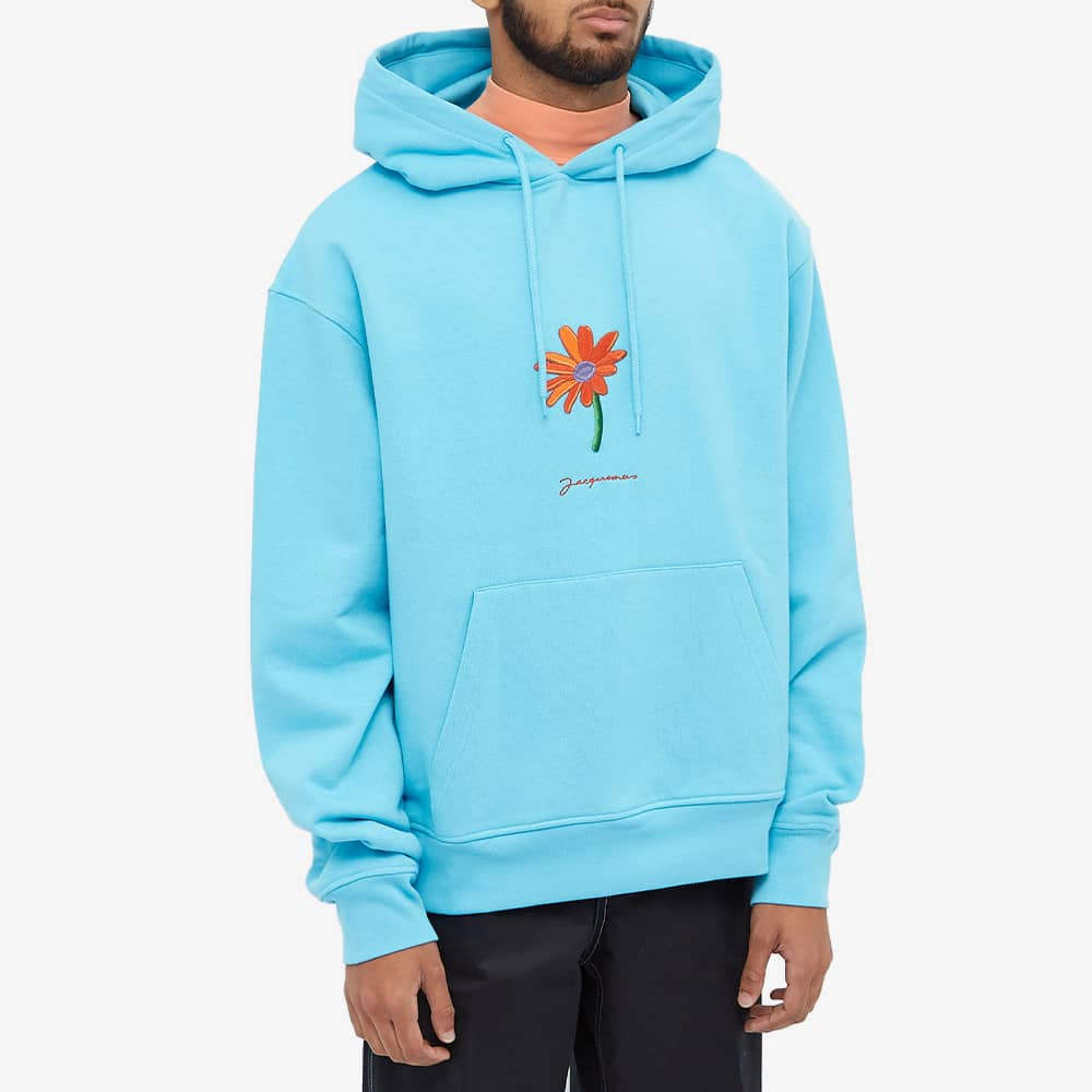 Jacquemus Flower Logo Popover Hoody - Blue
