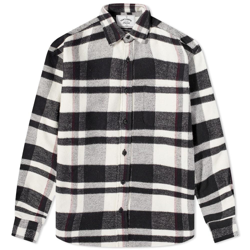 Portuguese Flannel Bonefire Check Flannel Shirt - Black & White