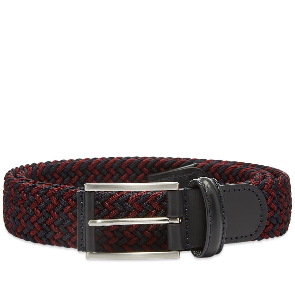 Anderson's Woven Textile Belt - Burgundy & Navy