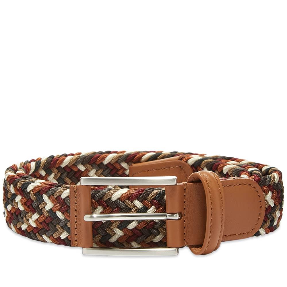 Anderson's Woven Textile Belt - Burgundy, Grey, Tan & Cream