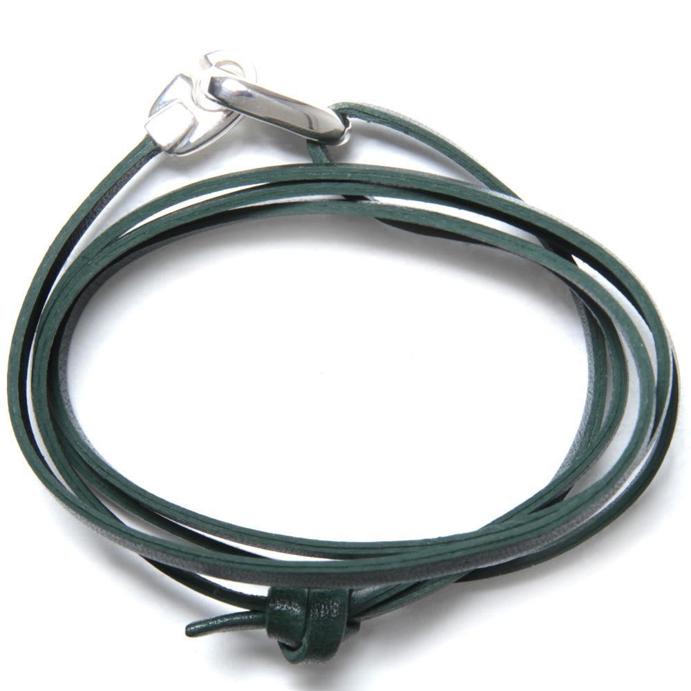 Miansai Bind Leather Silver Bracelet  - Hunter Green