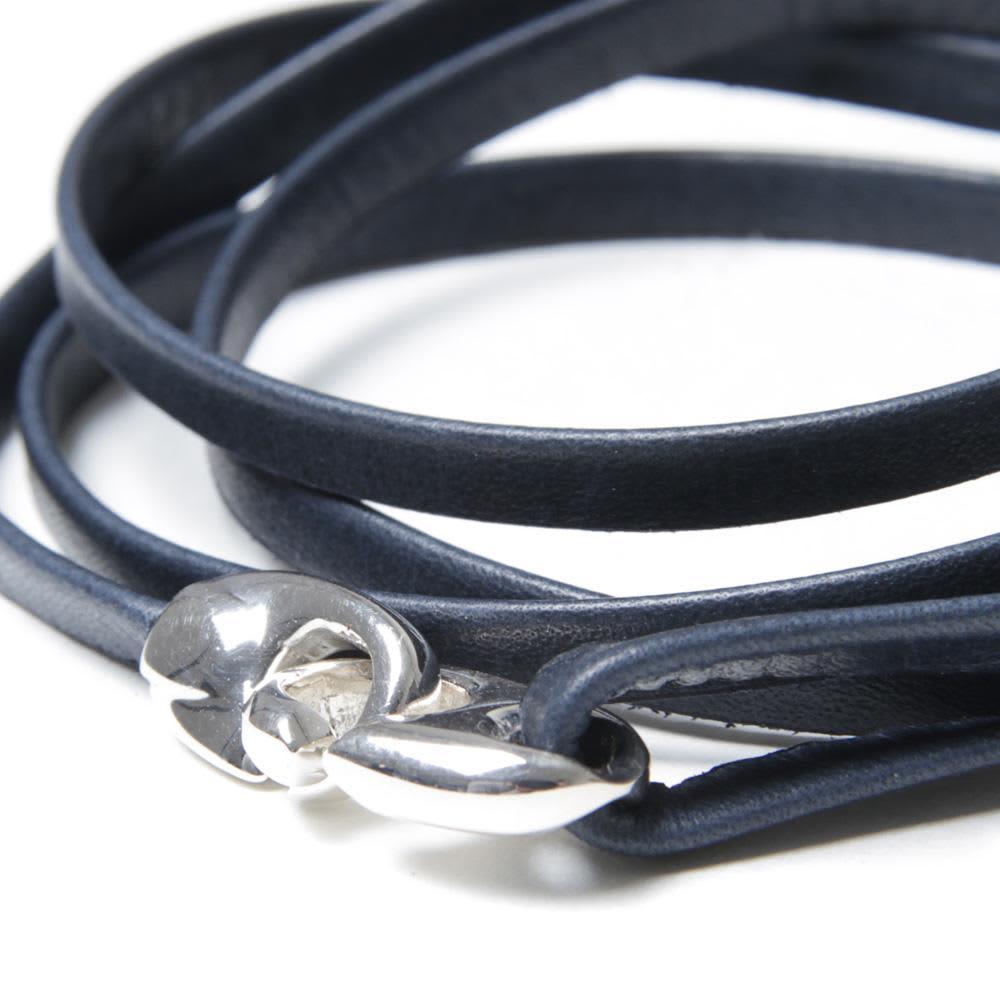Miansai Bind Leather Silver Bracelet  - Navy