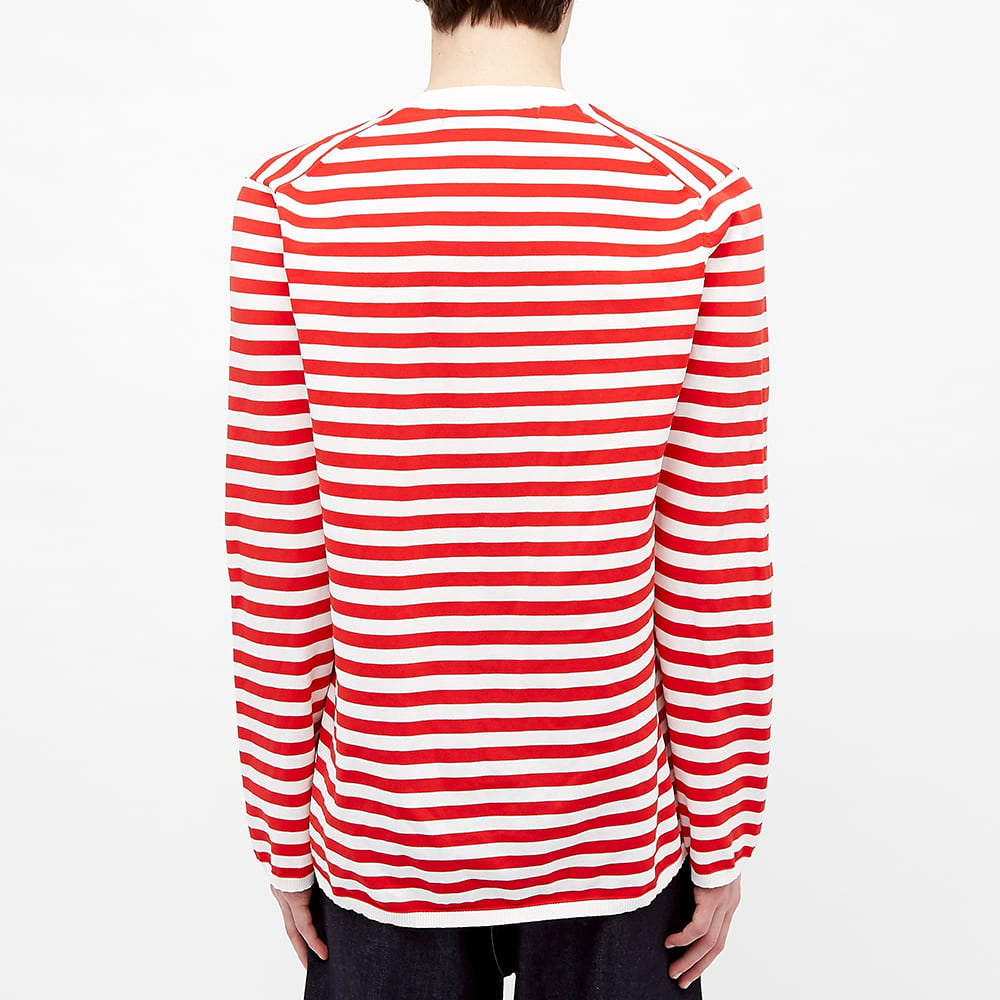 Comme des Garcons Homme Plus Striped Crew Knit - White & Red