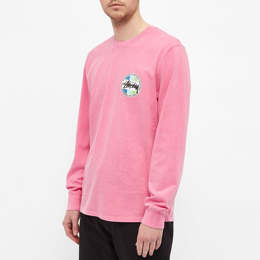 Stussy Long Sleeve Classic Dot Pigment Dyed Tee - Pink