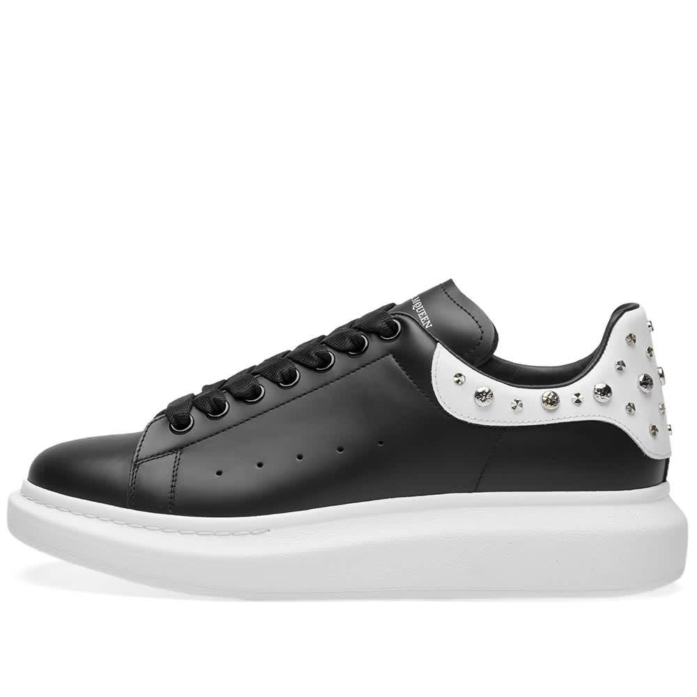 Alexander McQueen Wedge Sole Studded Heel Tab Sneaker - Black & White