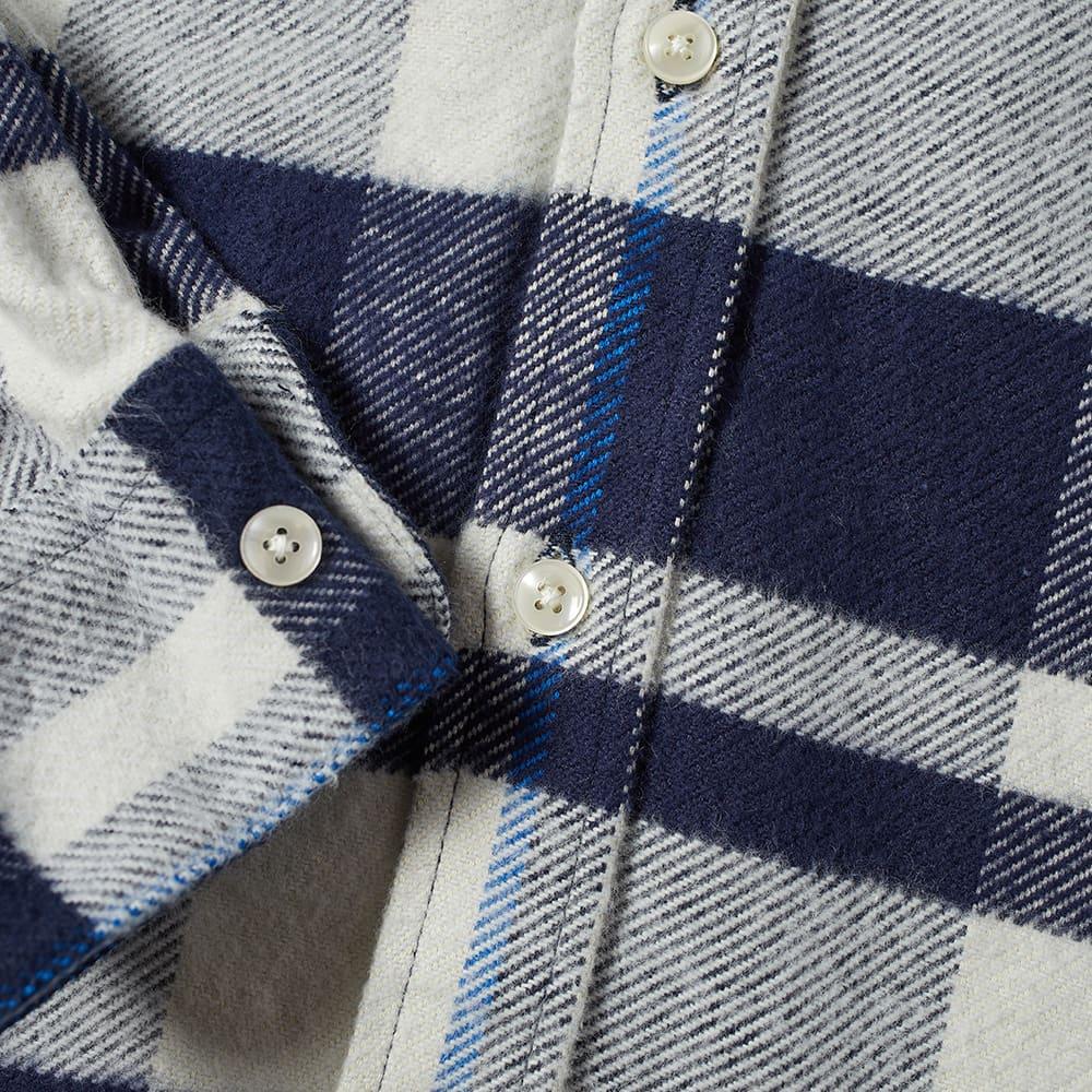 Portuguese Flannel Bonefire Check Flannel Shirt - Navy & Blue