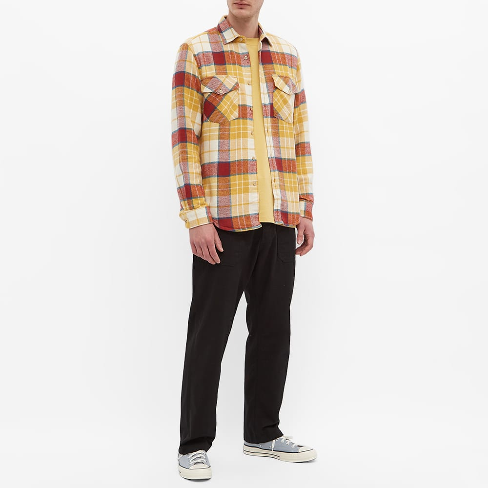 Portuguese Flannel Happy Check 2 Pocket Overshirt - Yellow