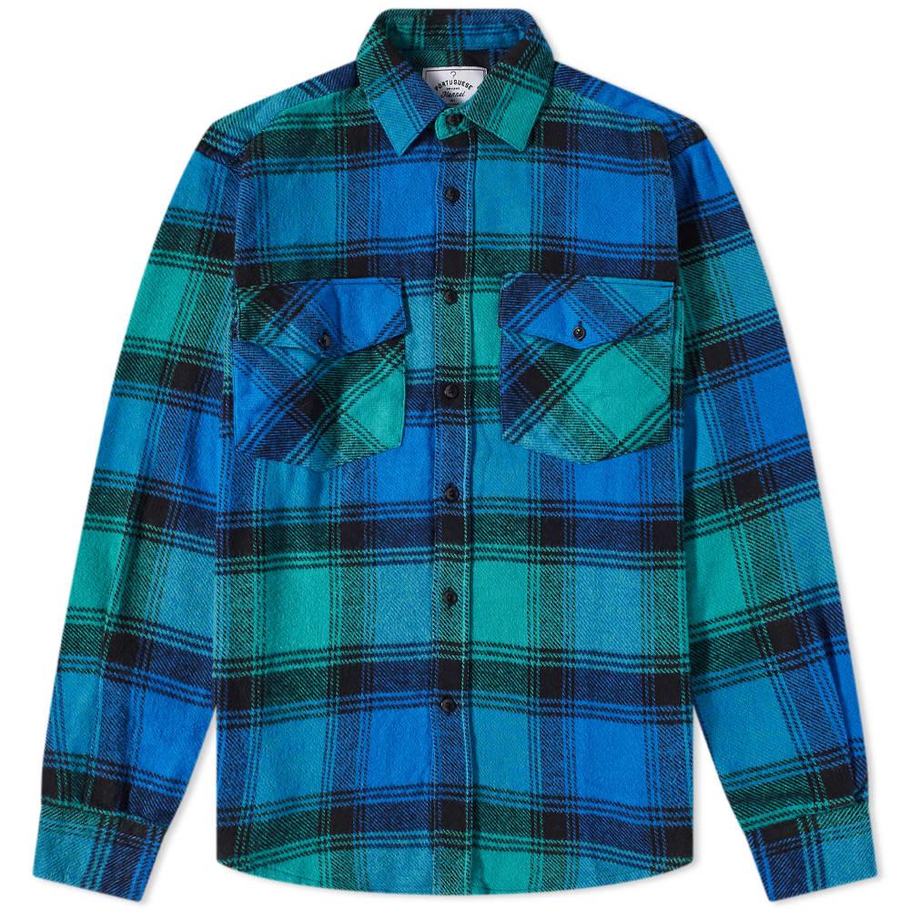 Portuguese Flannel Unic Check 2 Pocket Overshirt - Blue