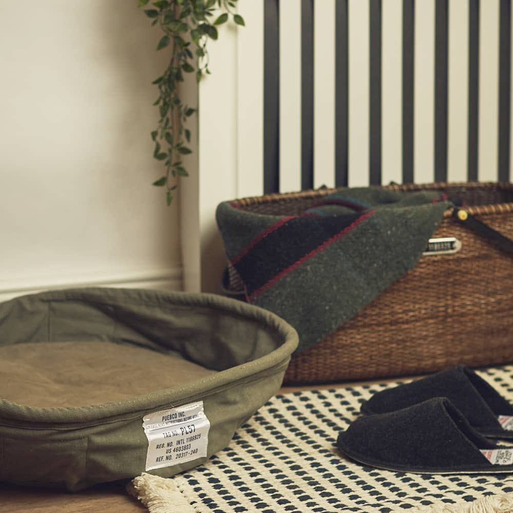 Puebco Small Vintage Tent Fabric Pet Bed - Green