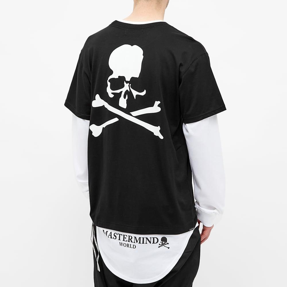 MASTERMIND WORLD Layered Long Sleeve Skull Tee - Black & White