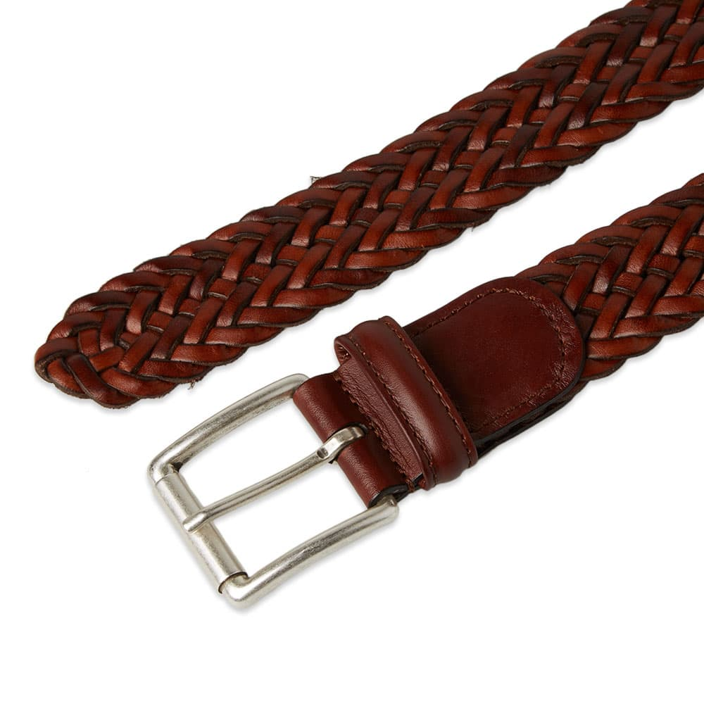 Anderson's Woven Leather Belt - Brown