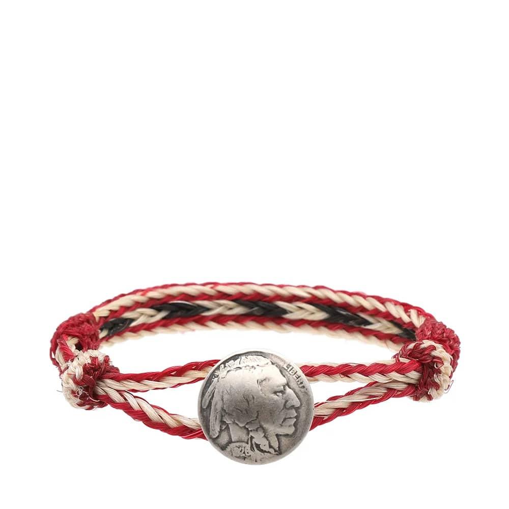 Chamula Indian Concho Bracelet - Red White & Black