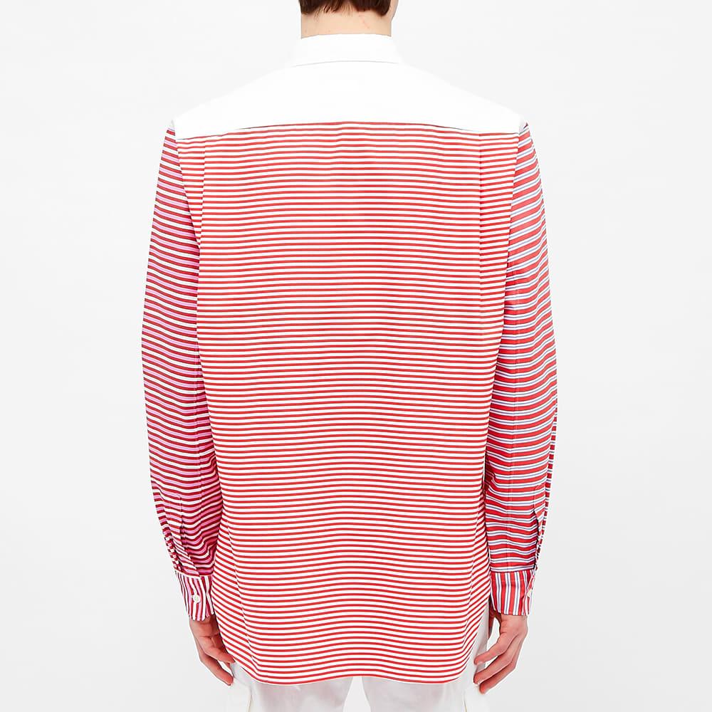 Comme des Garcons Homme Plus Funmix Multistripe Shirt - White & Red Multi