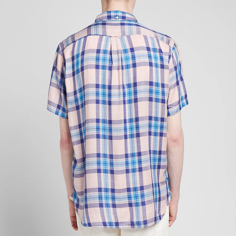 Beams Plus Short Sleeve 60/1 Twill Check - Pink