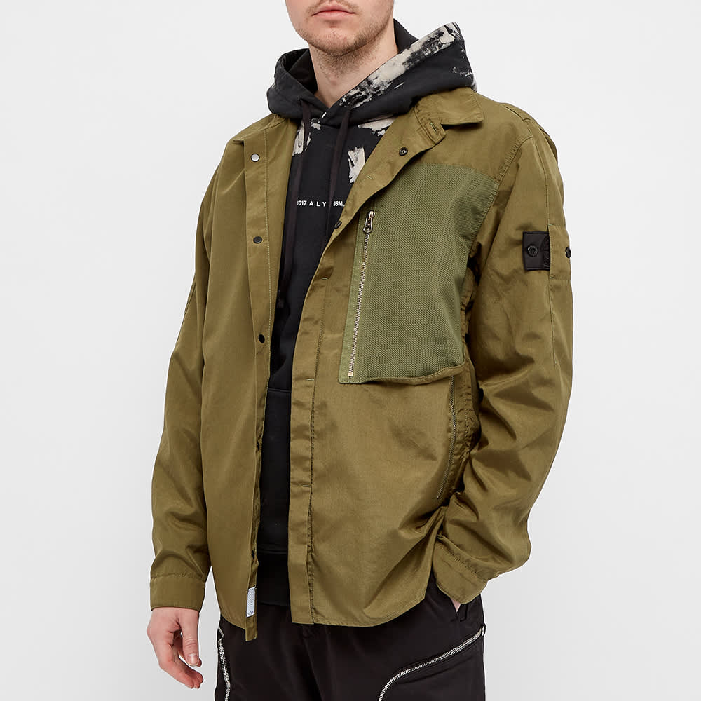 Stone Island Shadow Project Vented Zip Shirt Jacket - Olive