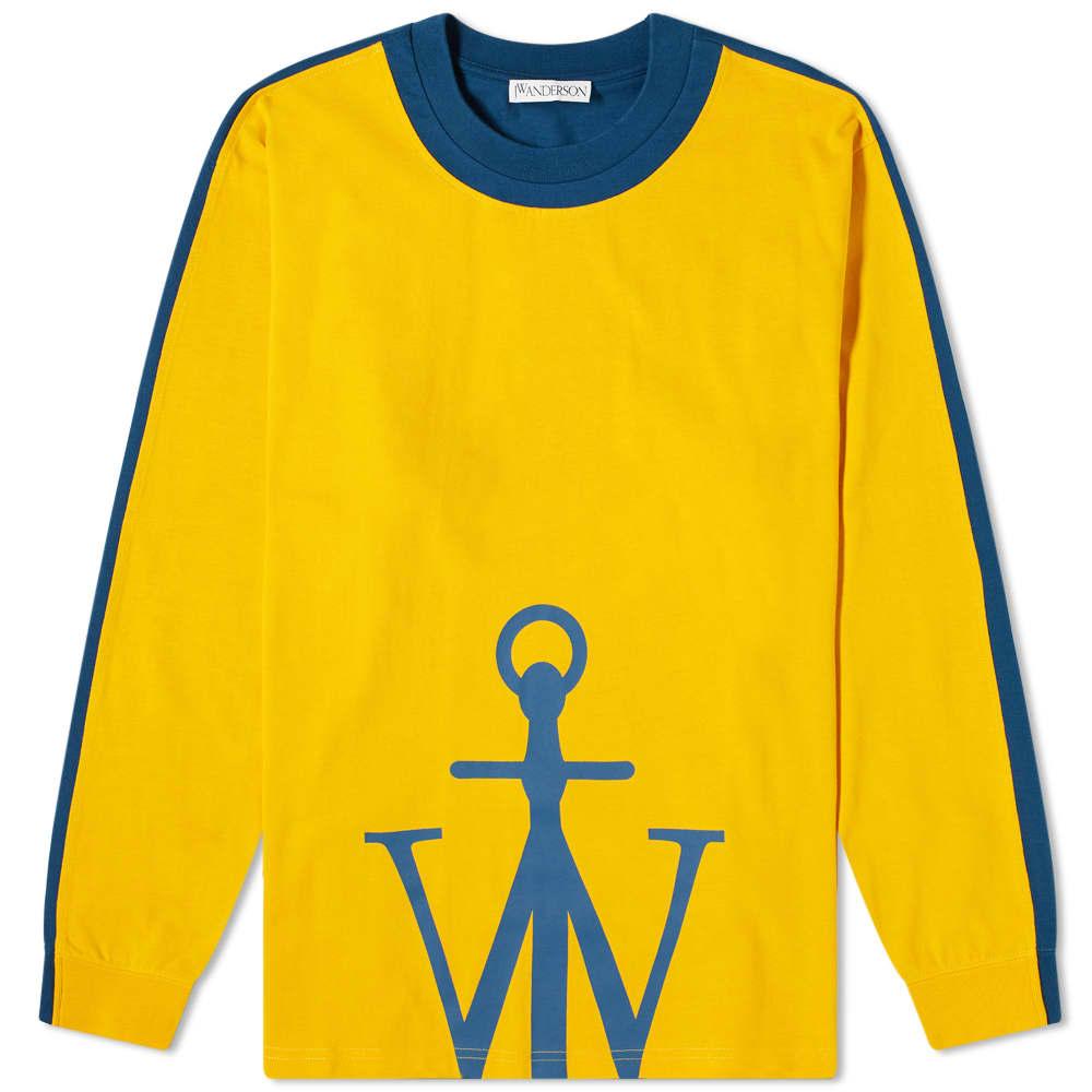 JW Anderson Long Sleeve Half Anchor Tee - Mustard & Petrol