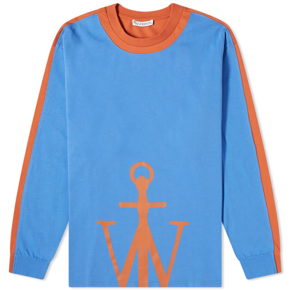 JW Anderson Long Sleeve Half Anchor Tee - Blue & Orange