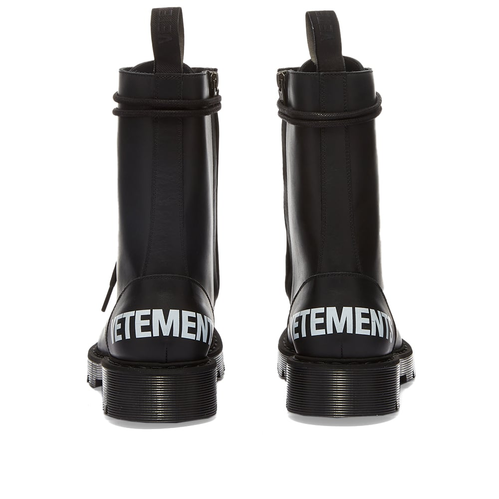 Vetements Logo Lace-Up Military Boots - Black & White