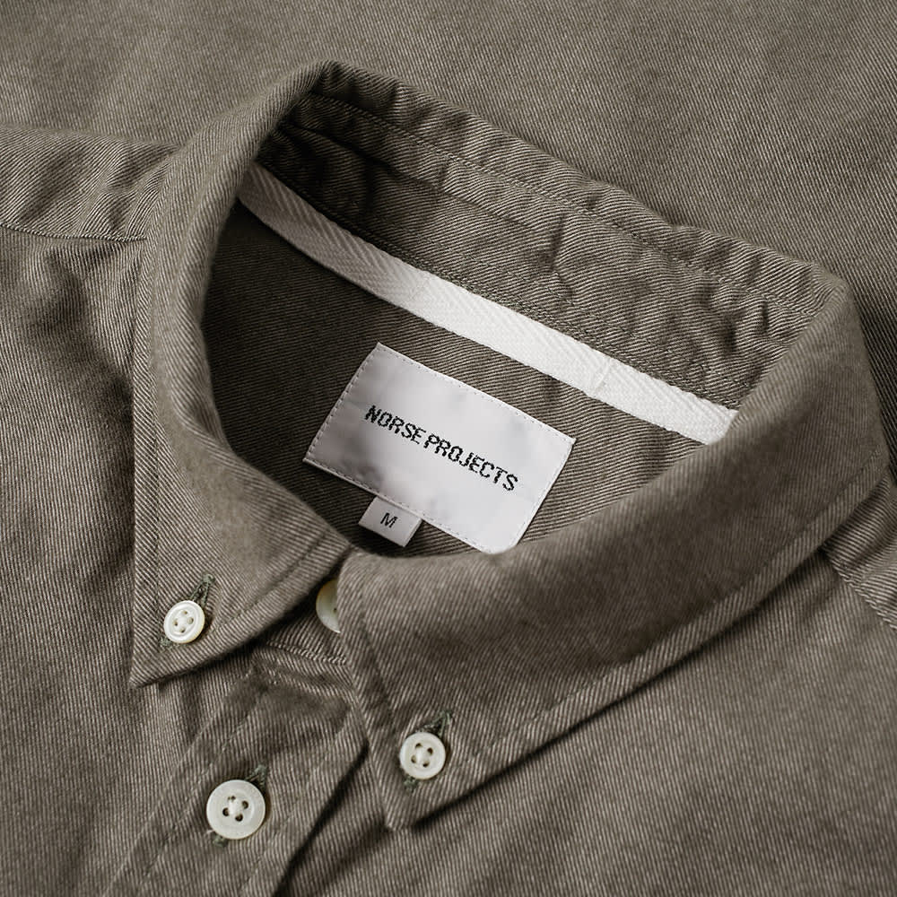 Norse Projects Anton Brushed Flannel Shirt - Sitka Green