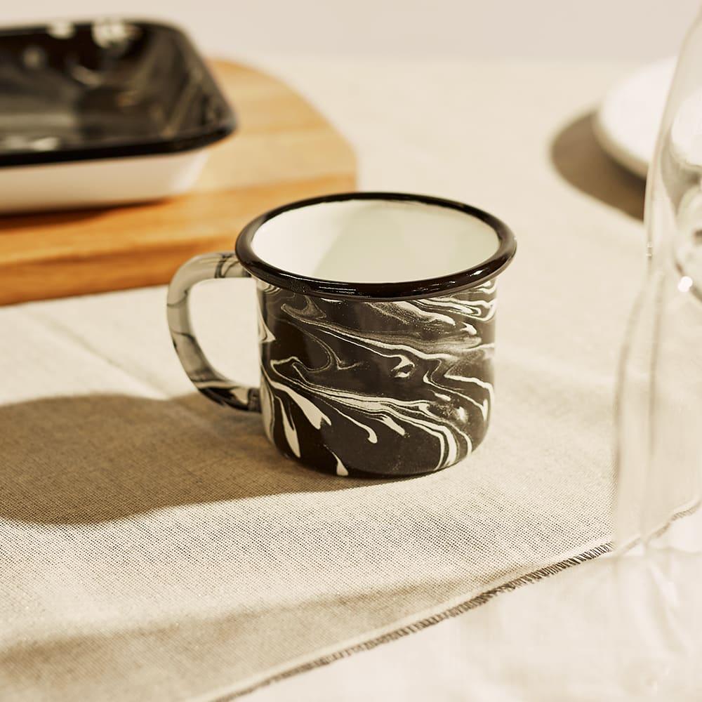 BORNN Enamelware Classic Marble Large Mug - Black