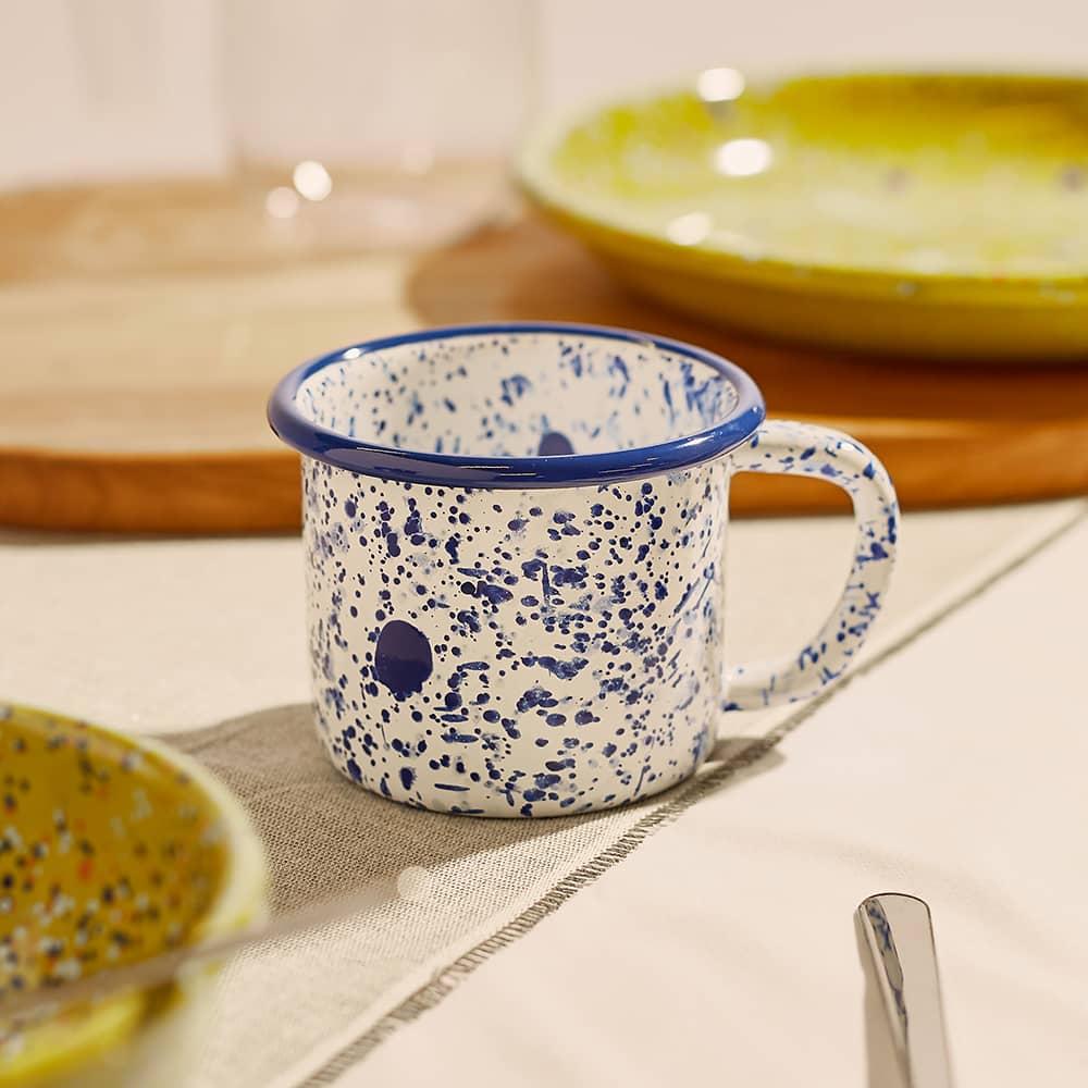 BORNN Enamelware Mediterranean Large Mug - Blue & White