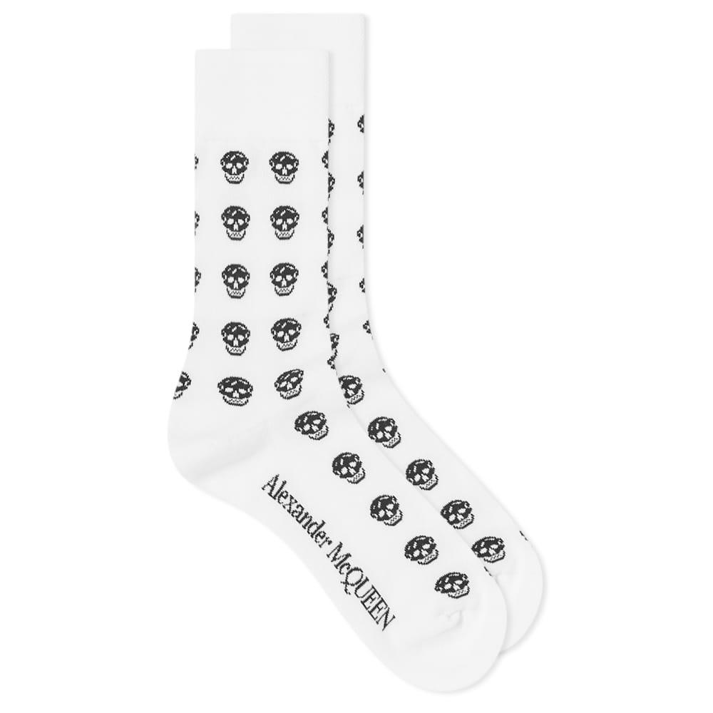 Alexander McQueen Skull Repeat Print Sport Sock - White & Black