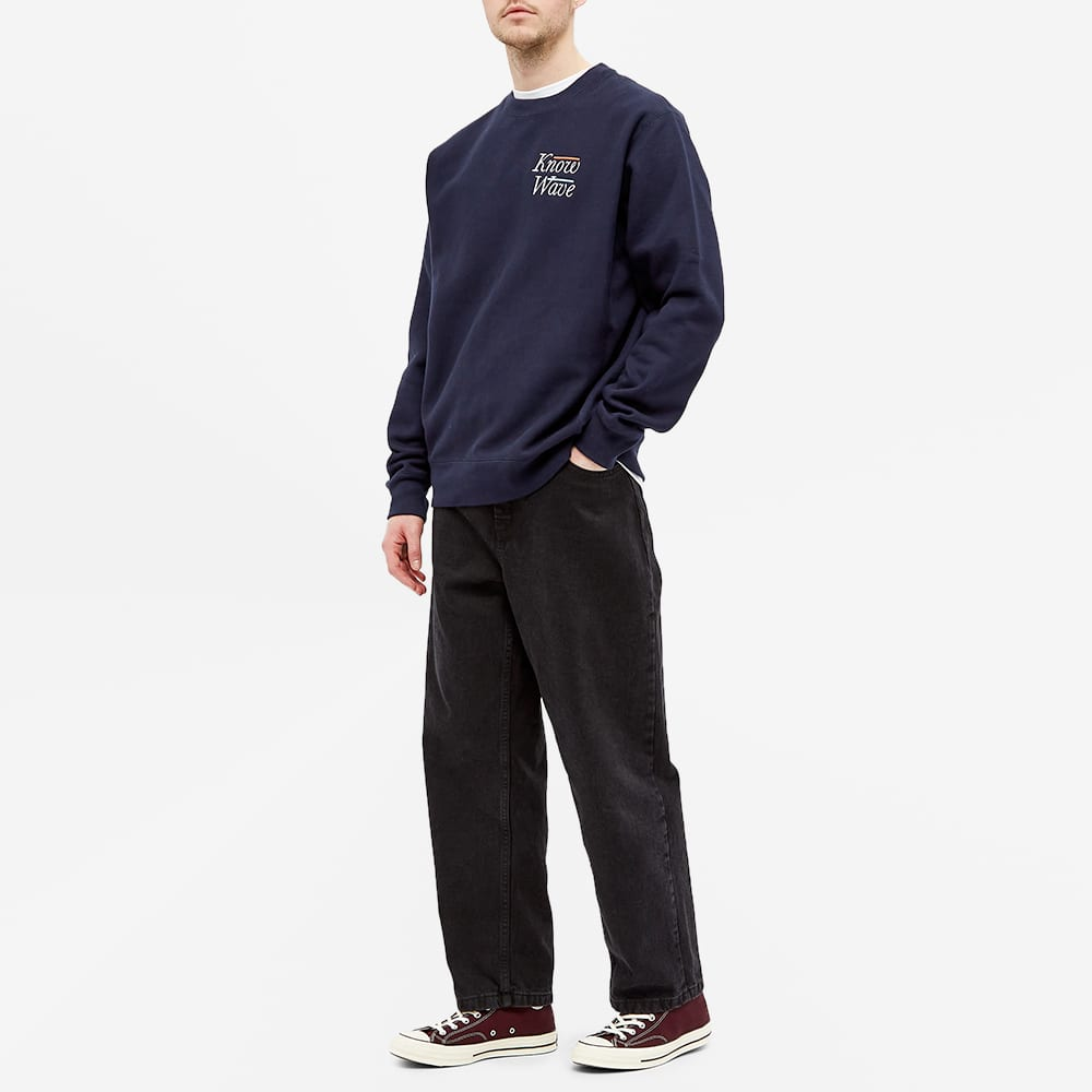 Know Wave Serif Embroidered Crew Sweat - Navy