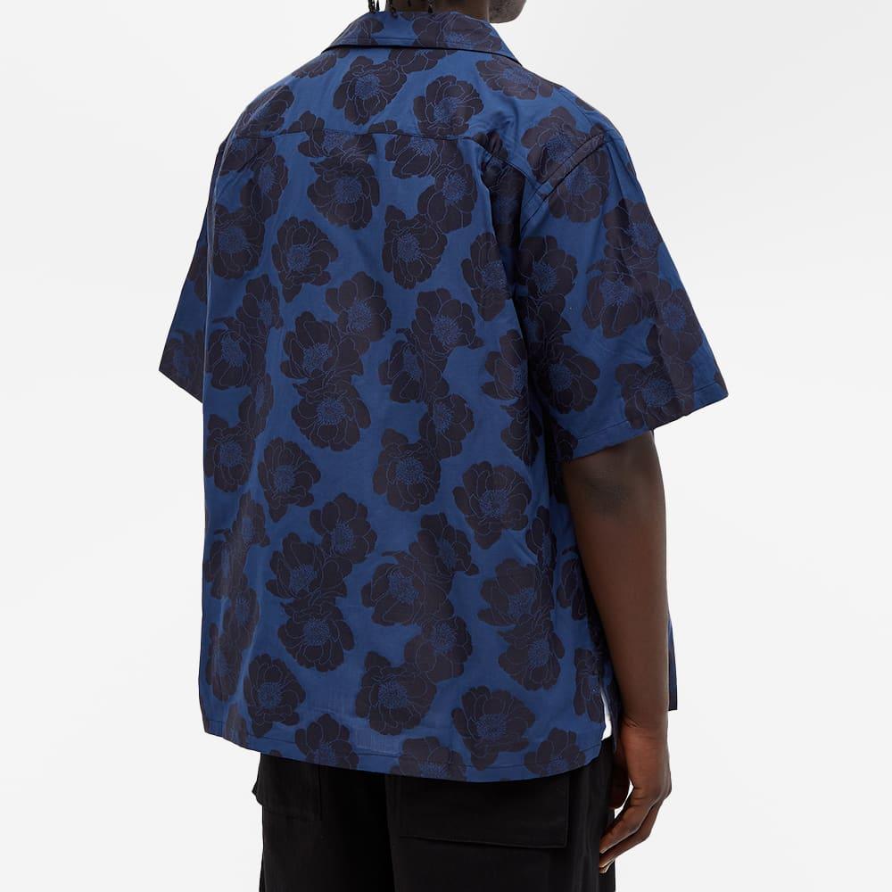 4SDesigns Wide Camp Shirt - Navy Floral Jacquard