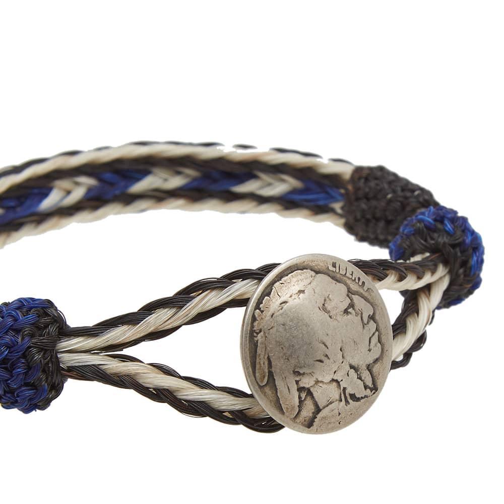 Chamula Indian Concho Bracelet - White, Black & Blue