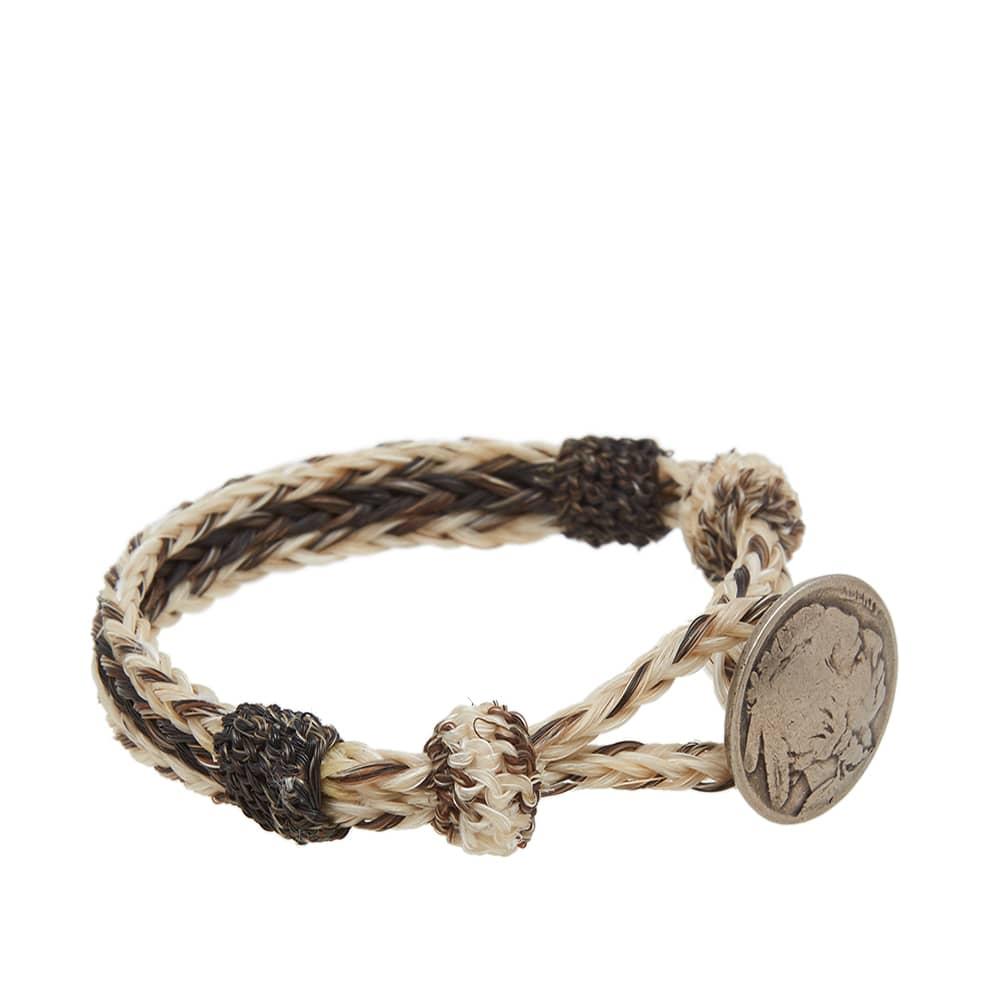 Chamula Indian Concho Bracelet - White & Brown