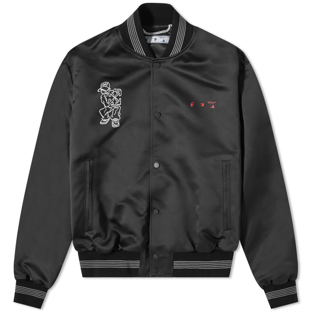 END. x Off-White Till The End Varsity Jacket - Black, Red & White