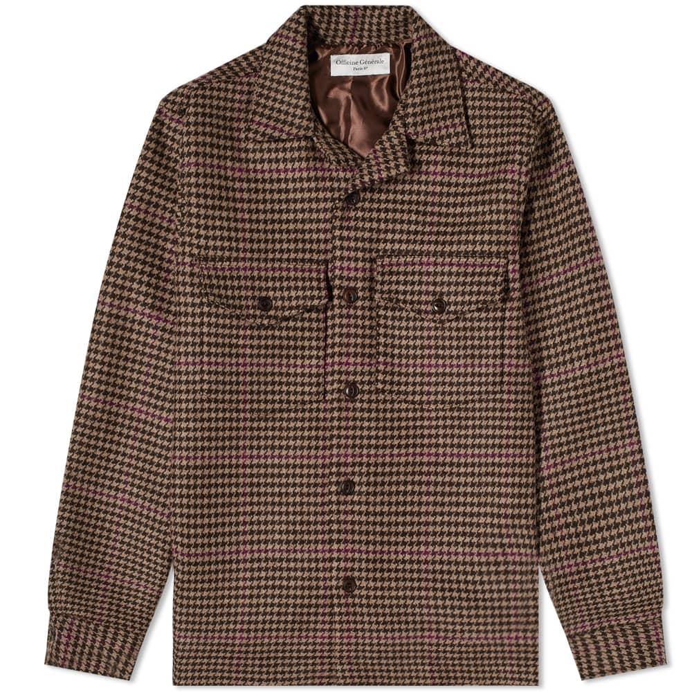 Officine Générale Jonas Houndstooth Wool Overshirt - Brown, Beige & Burgundy