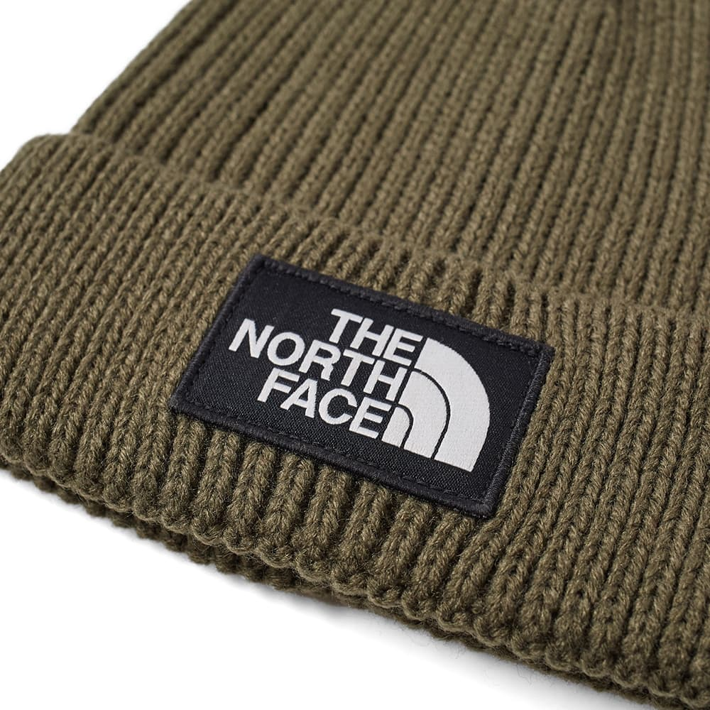 The North Face Logo Box Cuffed Beanie - Taupe Green
