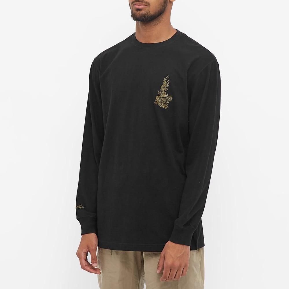 Maharishi Long Sleeve Embroidered Dragon Tee - Black