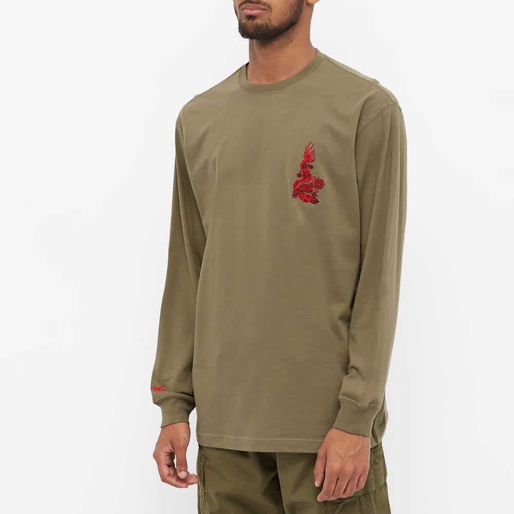 Maharishi Long Sleeve Embroidered Dragon Tee - Olive